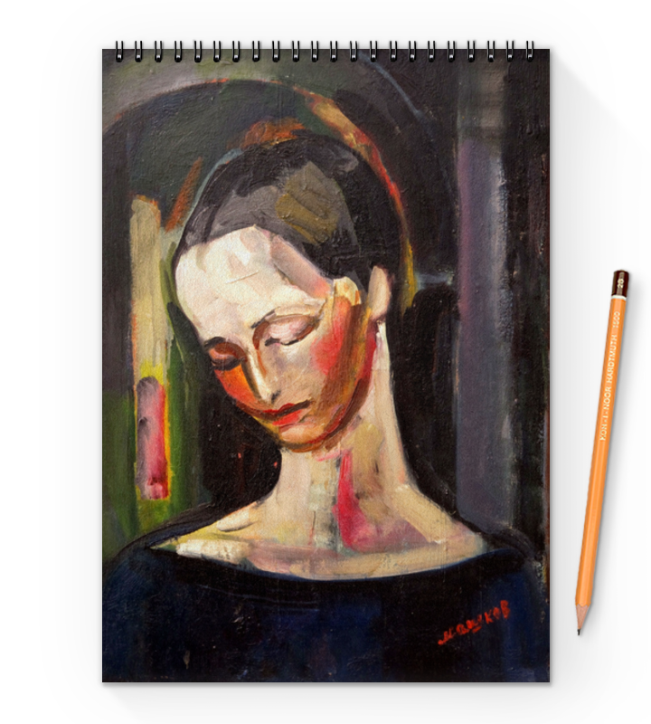 Printio Блокнот на пружине А4 Женский портрет (картина ильи машкова)