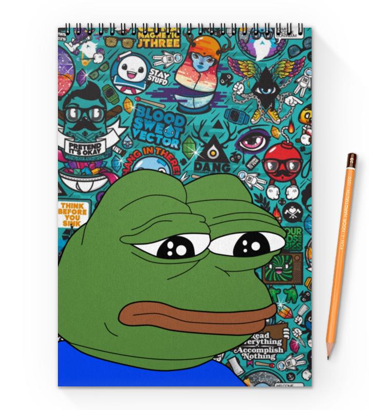 Printio Блокнот на пружине А4 Pepe frog printio блокнот на пружине а4 stickers