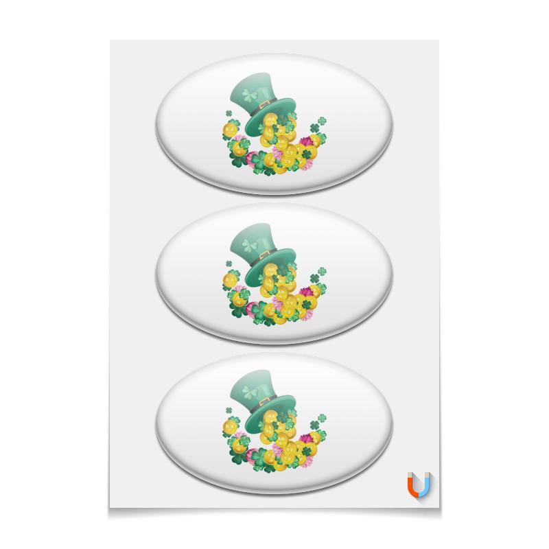 Printio Наклейки овальные 15×9 см Шляпа лепрекона и четырехлистники с монетами