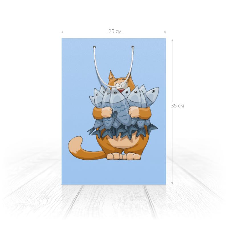 Printio Пакет 25x35x8 cм Кот с рыбой.