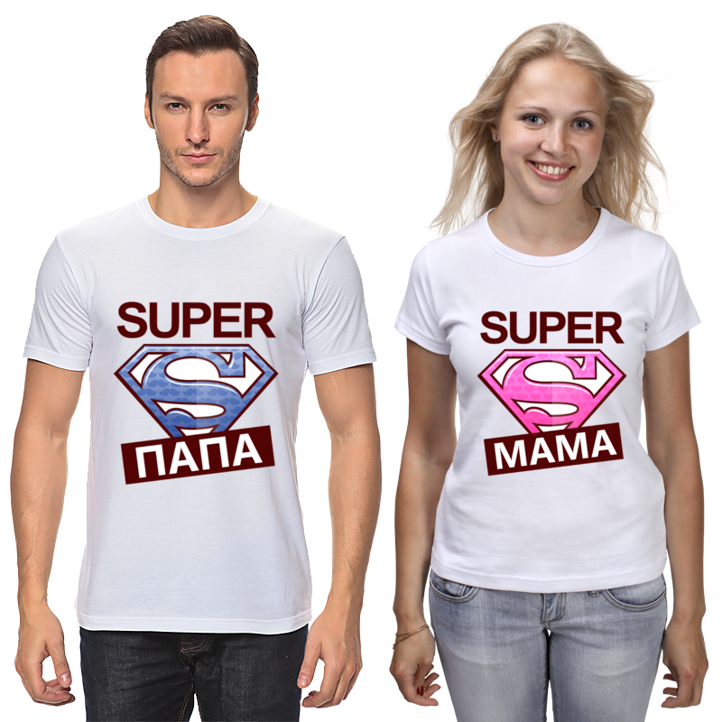 Printio Футболки парные Супер мама и супер папа
