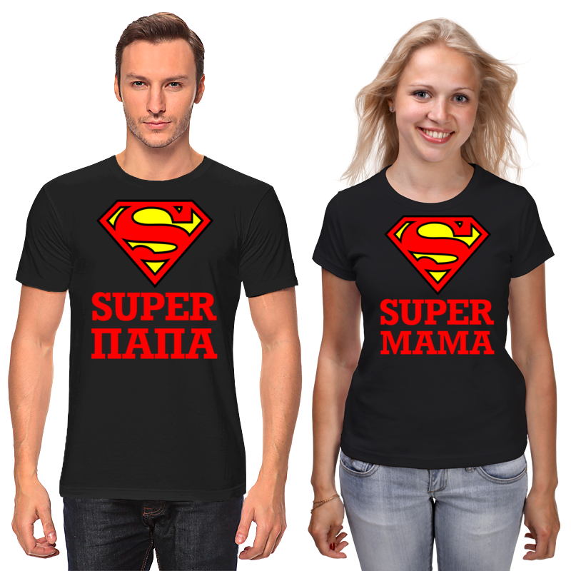 Printio Футболки парные Супер папа и супер мама
