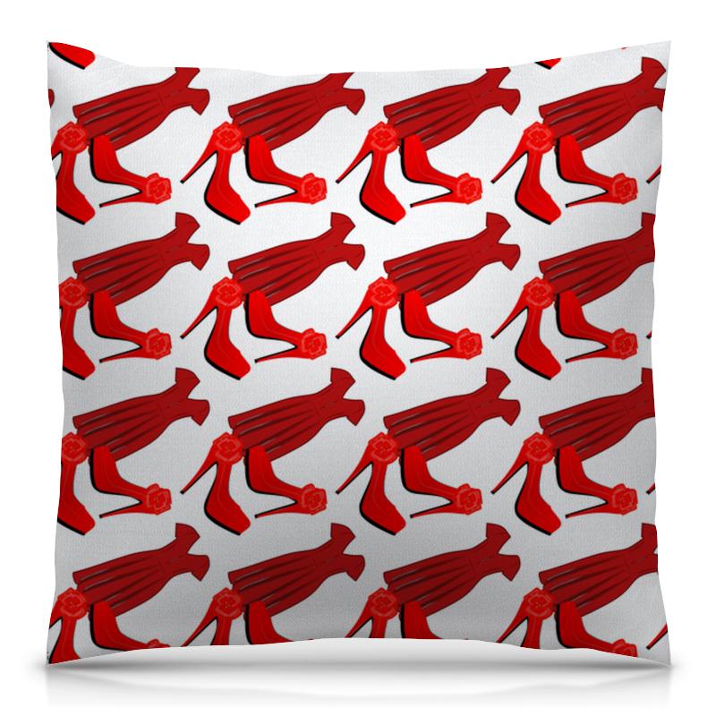 Printio Подушка 40x40 см с полной запечаткой Бесшовные фактуры, паттерны - стиль, красный