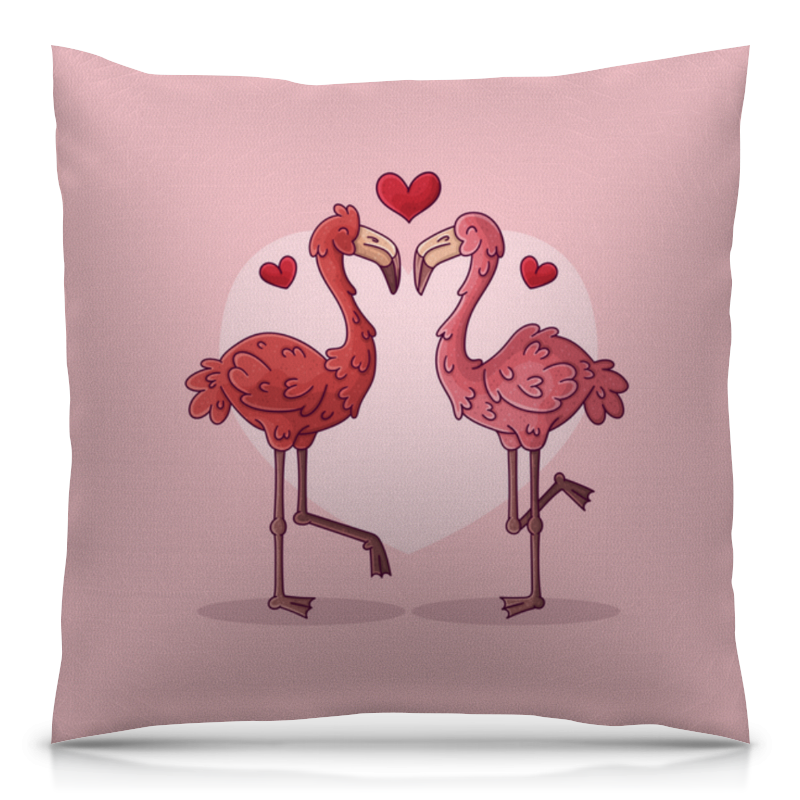 printio сумка с полной запечаткой влюбленные фламинго Printio Подушка 40x40 см с полной запечаткой Влюбленные фламинго