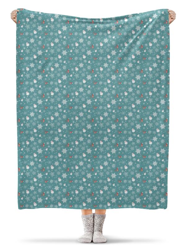 Printio Плед флисовый 130×170 см Снеговички и звезды