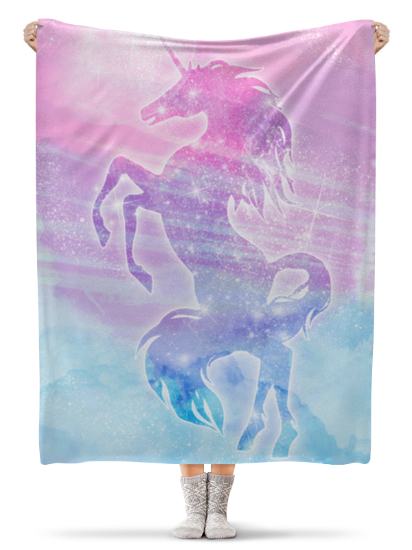 Printio Плед флисовый 130×170 см Волшебный космический единорог со звездами