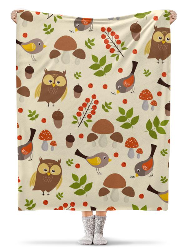 Printio Плед флисовый 130×170 см Птички и грибочки