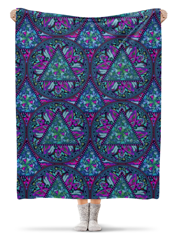 Printio Плед флисовый 130×170 см Мандала, бирюзовый круговой орнамент