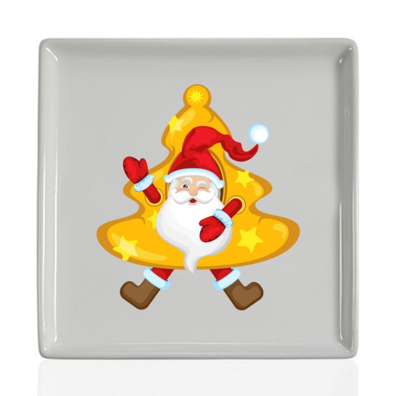 Printio Тарелка квадратная Санта в костюме елки