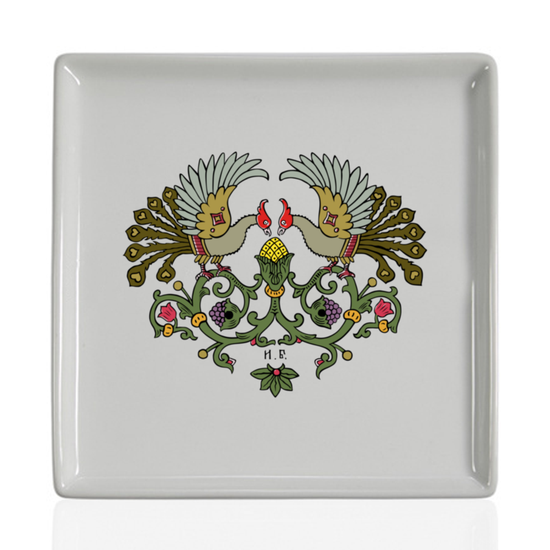 Printio Тарелка квадратная Виньетка с птицами