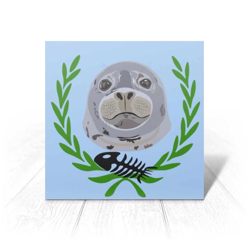 Фото - Printio Открытка 15x15 см Тюлень тюлень яшма красная 5 см