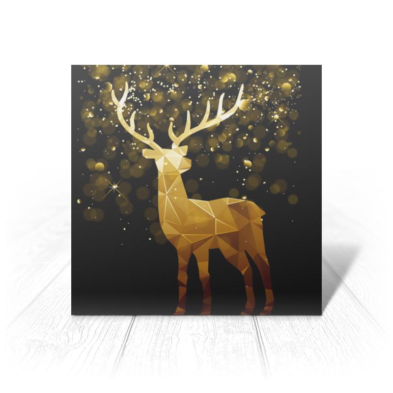 Printio Открытка 15x15 см Золотой олень