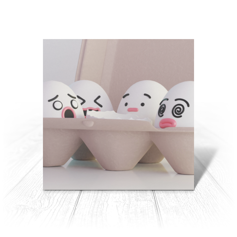 Фото - Printio Открытка 15x15 см Травмированные яйца printio открытка 15x15 см лев тотем