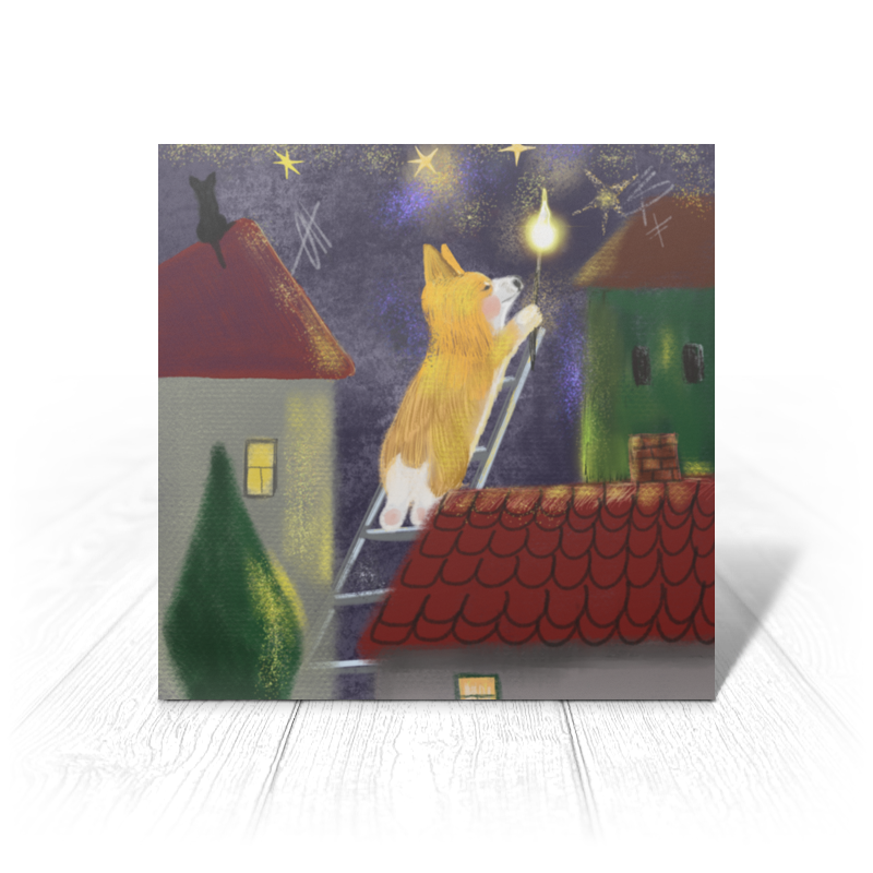 Printio Открытка 15x15 см Корги зажигает звезды