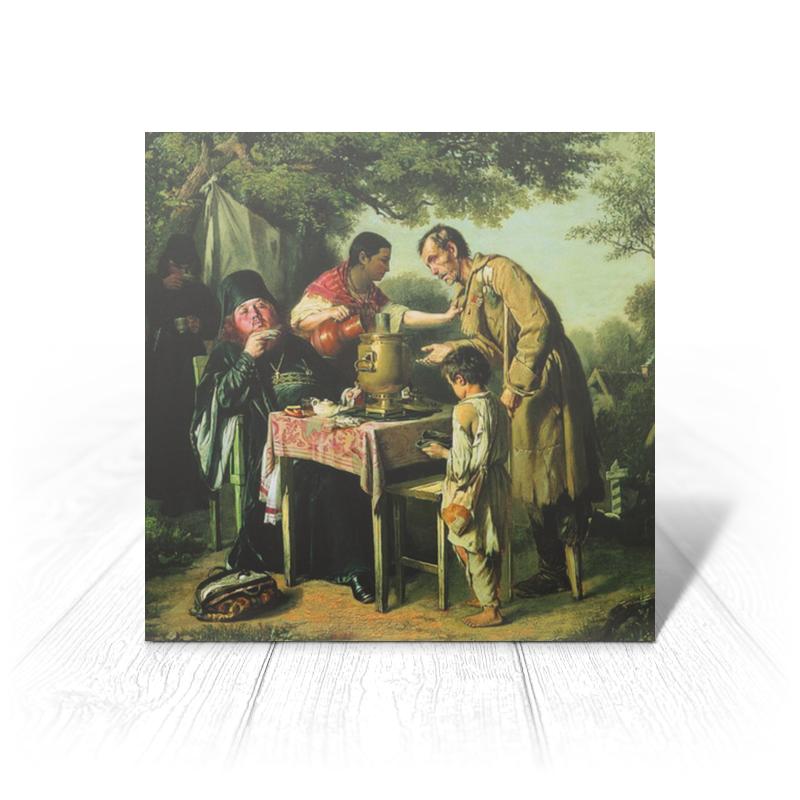 Printio Открытка 15x15 см Чаепитие в мытищах, близ москвы