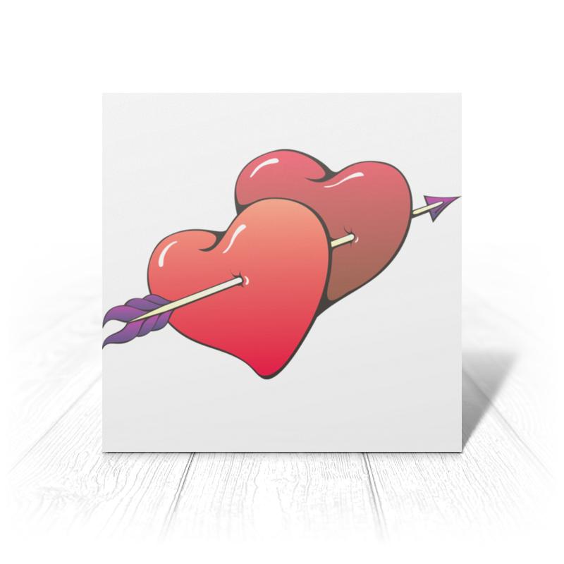 Printio Открытка 15x15 см Сердца пронзенные стрелой