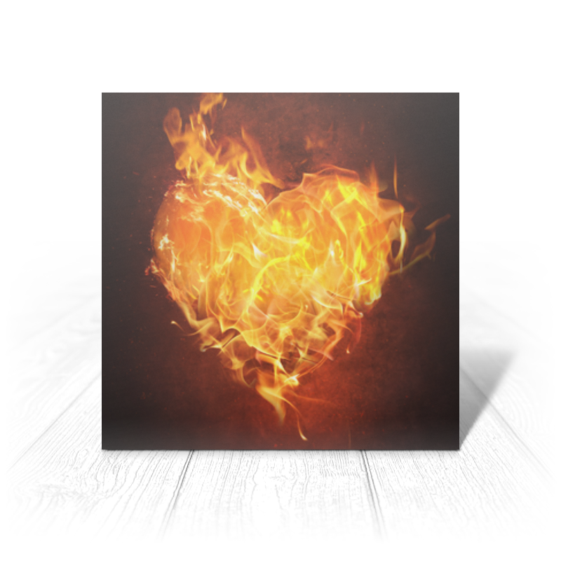 Printio Открытка 15x15 см Огненное сердце