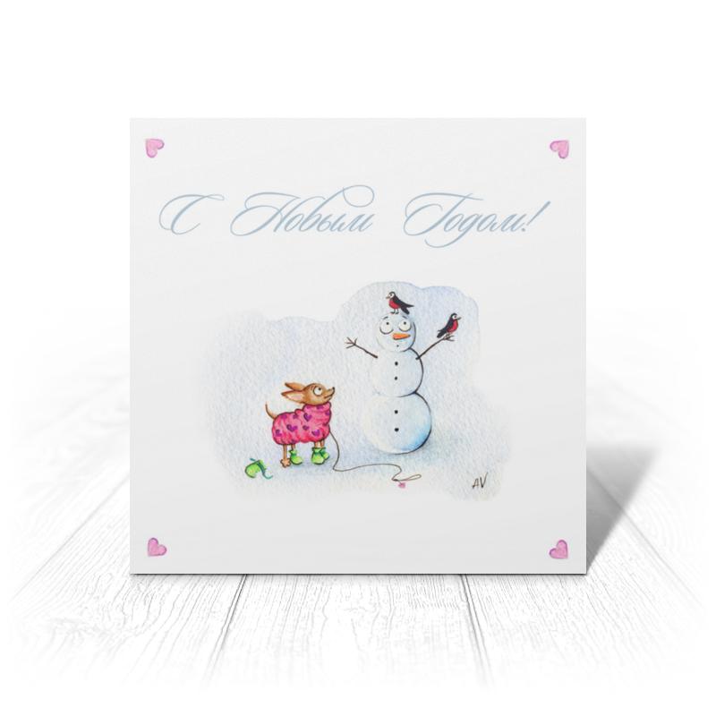 Printio Открытка 15x15 см Новогодняя открытка с маленькой собачкой