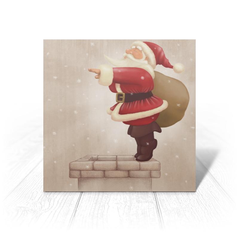 Printio Открытка 15x15 см Санта с мешком printio открытка 15x15 см санта