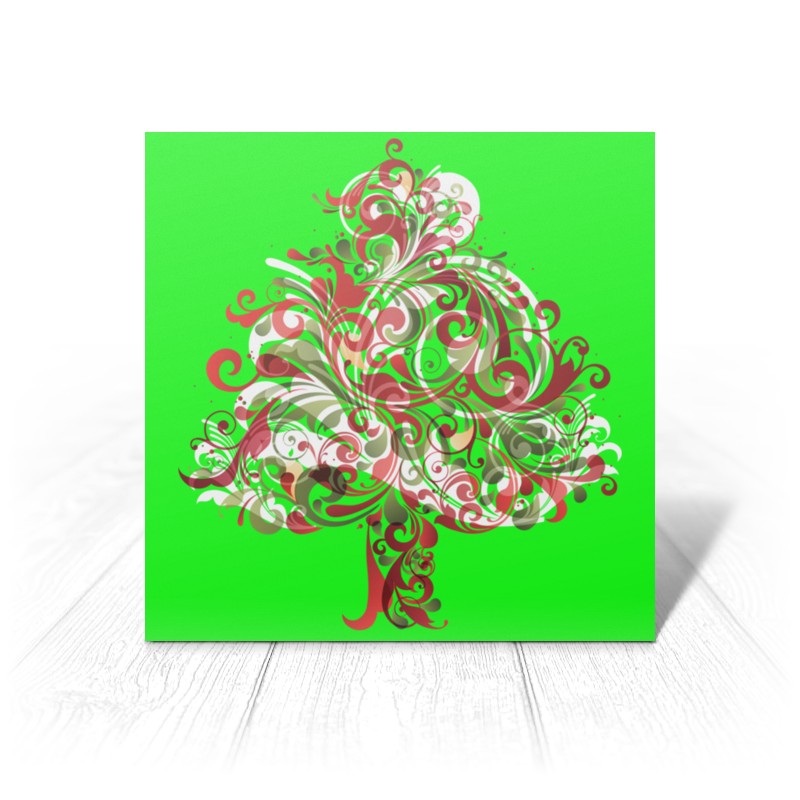 Printio Открытка 15x15 см Узорчатая ёлка