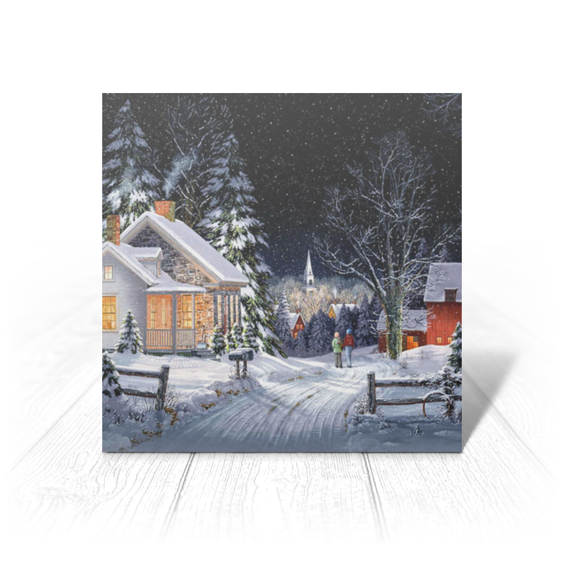 Printio Открытка 15x15 см Зимний вечер открытка 10 15 л уланова зимний дворец арт 8039