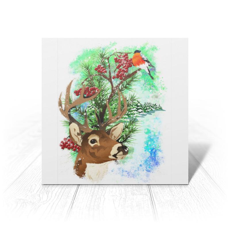 Printio Открытка 15x15 см Новогодняя сказка с северным оленем.