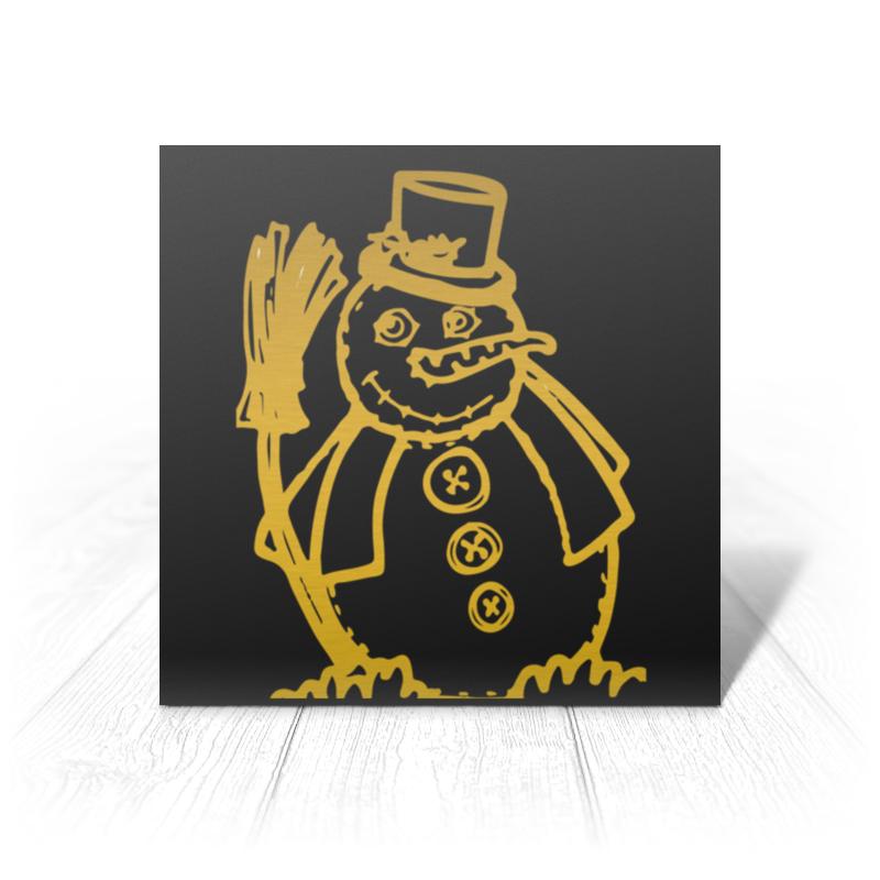 Printio Открытка 15x15 см Золотой снеговик