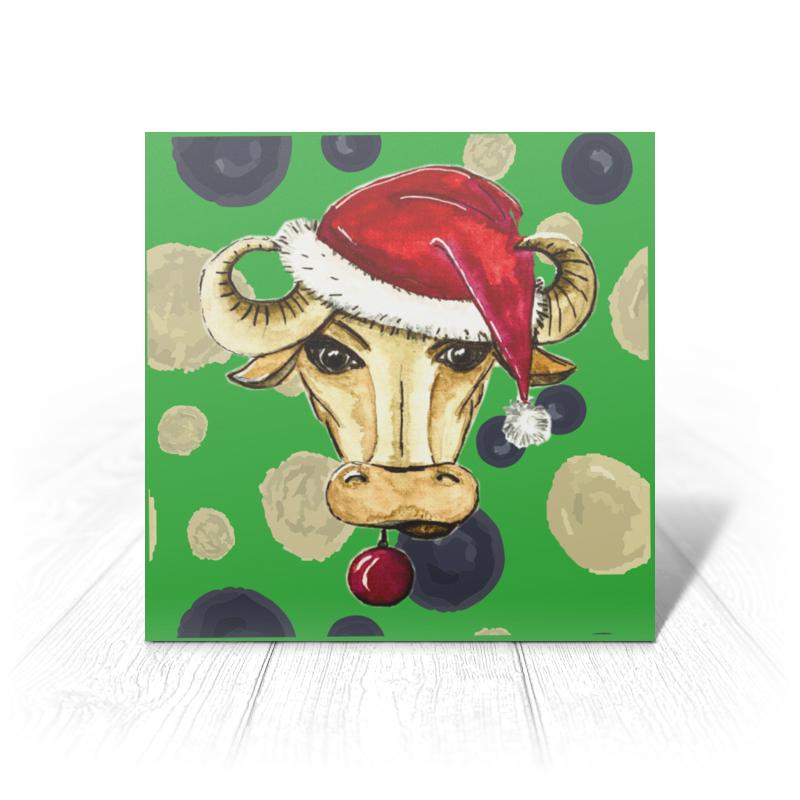 Printio Открытка 15x15 см Новогодний бык (1)