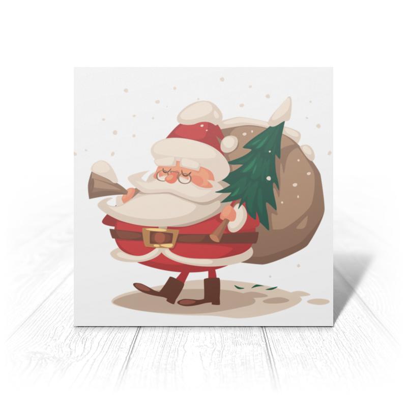 Printio Открытка 15x15 см Санта с ёлкой printio открытка 15x15 см санта