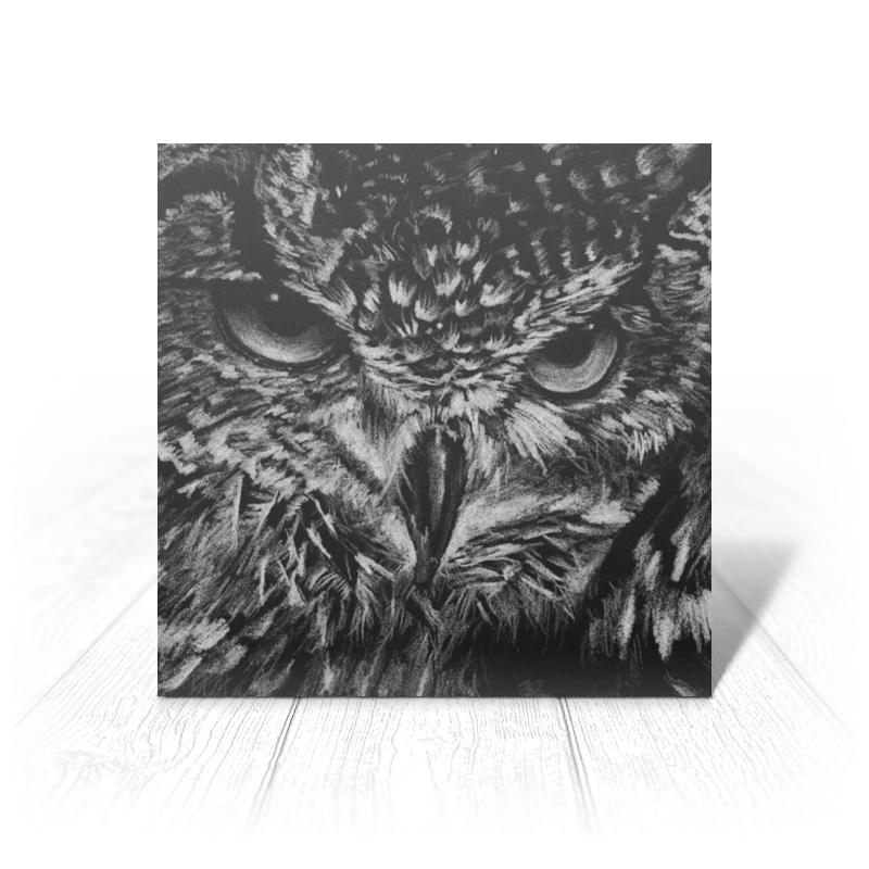 Printio Открытка 15x15 см Черно-белая сова