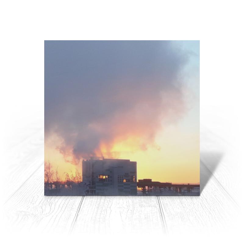 Printio Открытка 15x15 см Рассвет, похожий на пожар