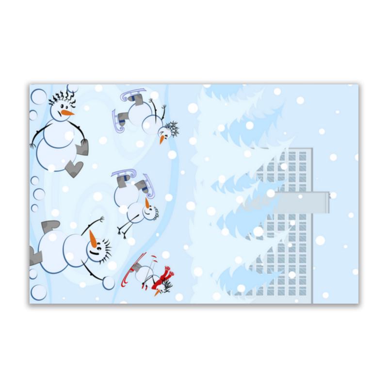 Printio Открытка 15x10 см Снеговики и зимние виды спорта