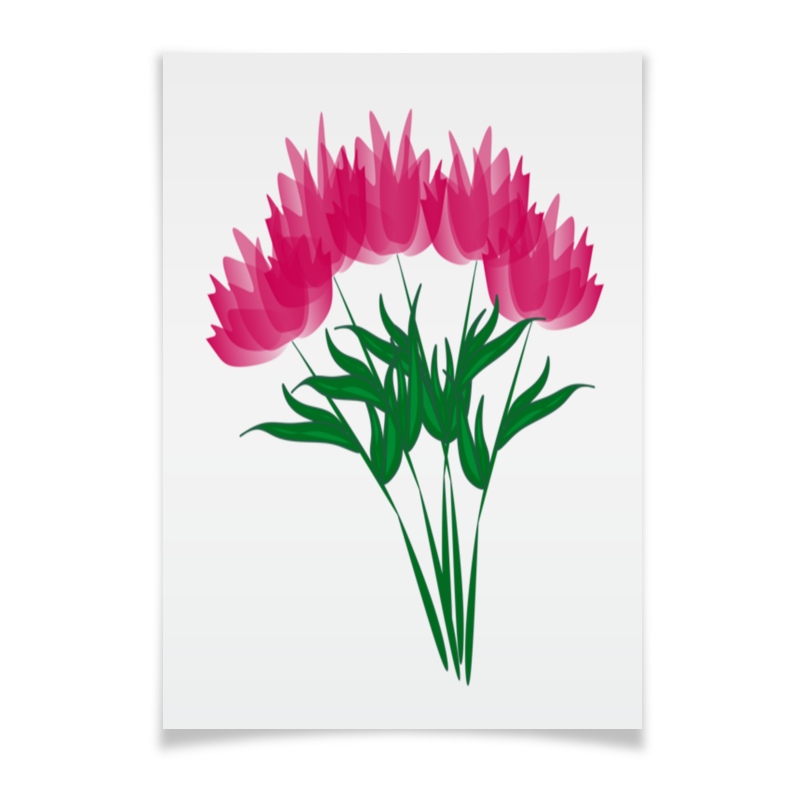 Printio Плакат A3(29.7×42) Розовые абстрактные цветы