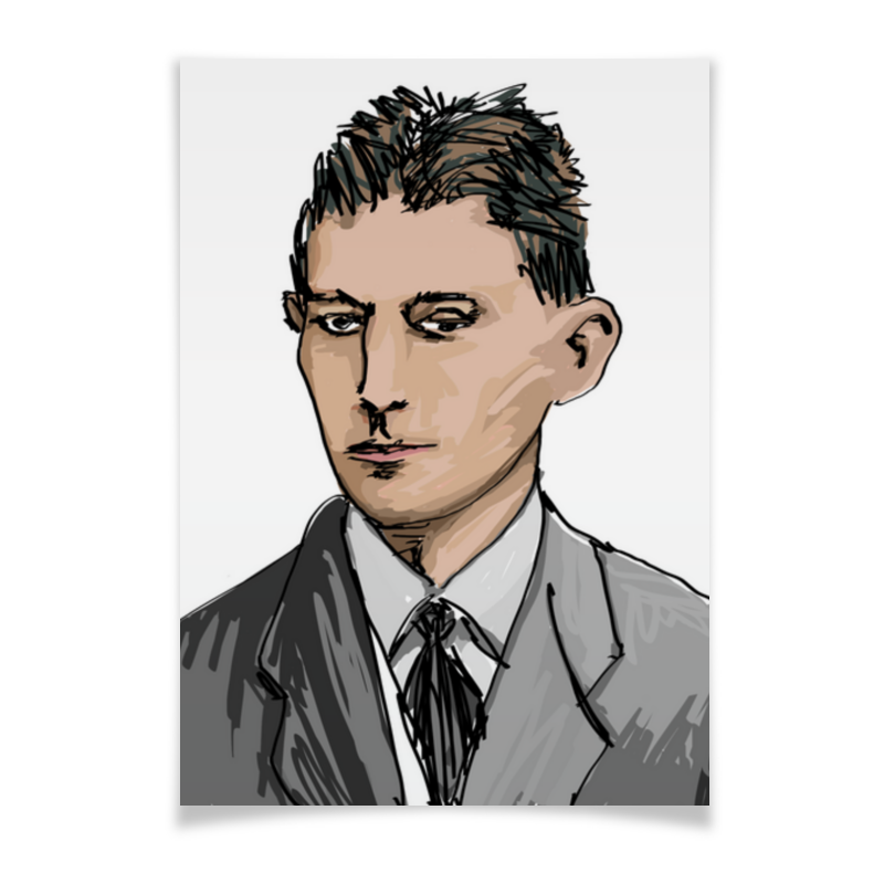 Printio Плакат A3(29.7×42) Писатель ф.кафка   автор а.неизвестнова