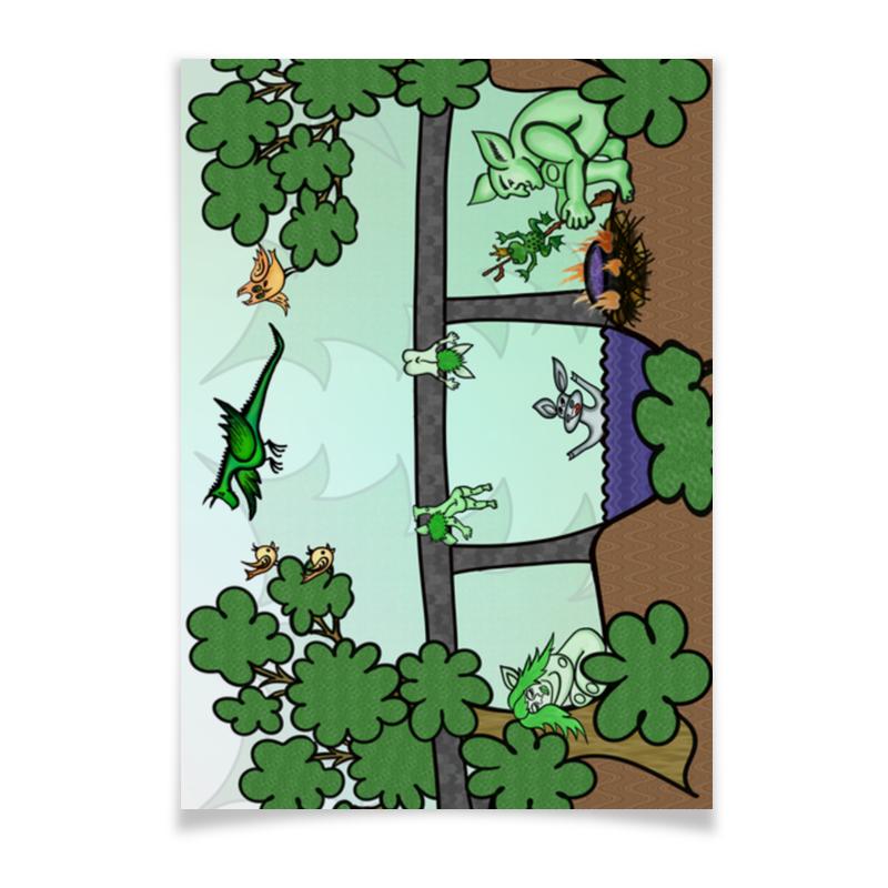 Printio Плакат A3(29.7×42) Семья троллей живет под мостом