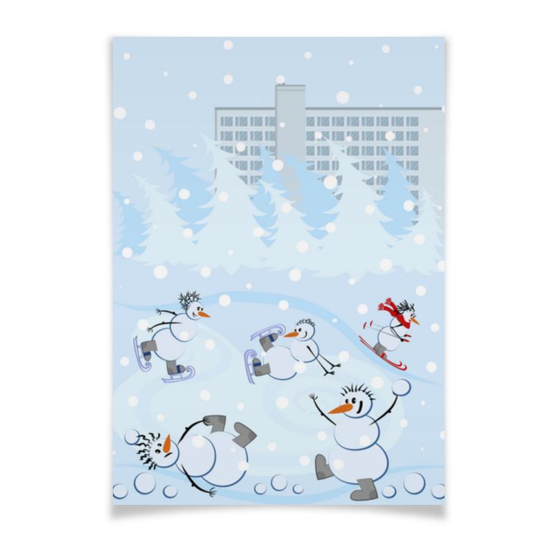 Printio Плакат A3(29.7×42) Снеговики и зимние виды спорта
