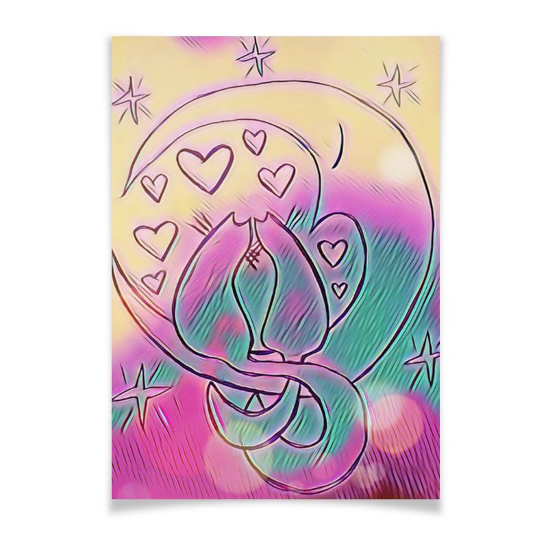 Printio Плакат A3(29.7×42) Влюбленные коты на луне printio лонгслив влюбленные