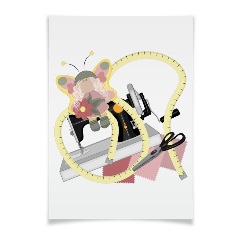 Printio Плакат A3(29.7×42) Хобби - швейная машинка, ножницы и кукла