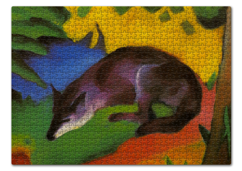 Printio Пазл 43.5×31.4 см (408 элементов) Сине-черная лиса (франц марк)