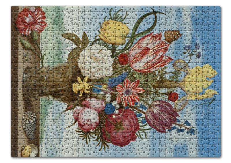 Printio Пазл 43.5×31.4 см (408 элементов) Букет цветов на полке (амброзиус босхарт) printio пазл 43 5×31 4 см 408 элементов охотники на снегу питер брейгель старший