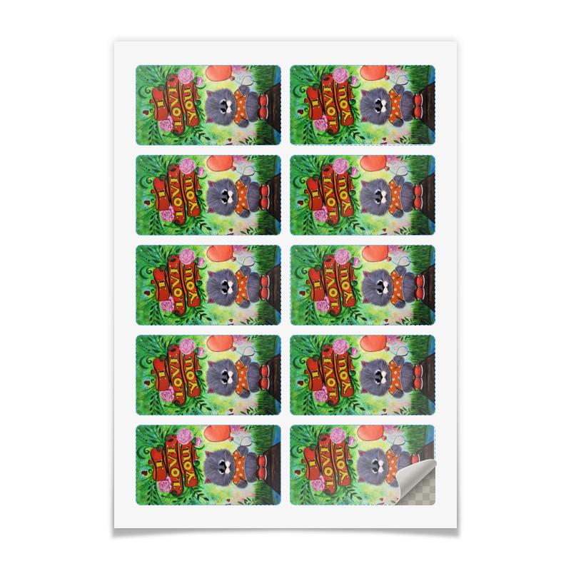 Printio Наклейки прямоугольные 9×5 см Кот с шариком