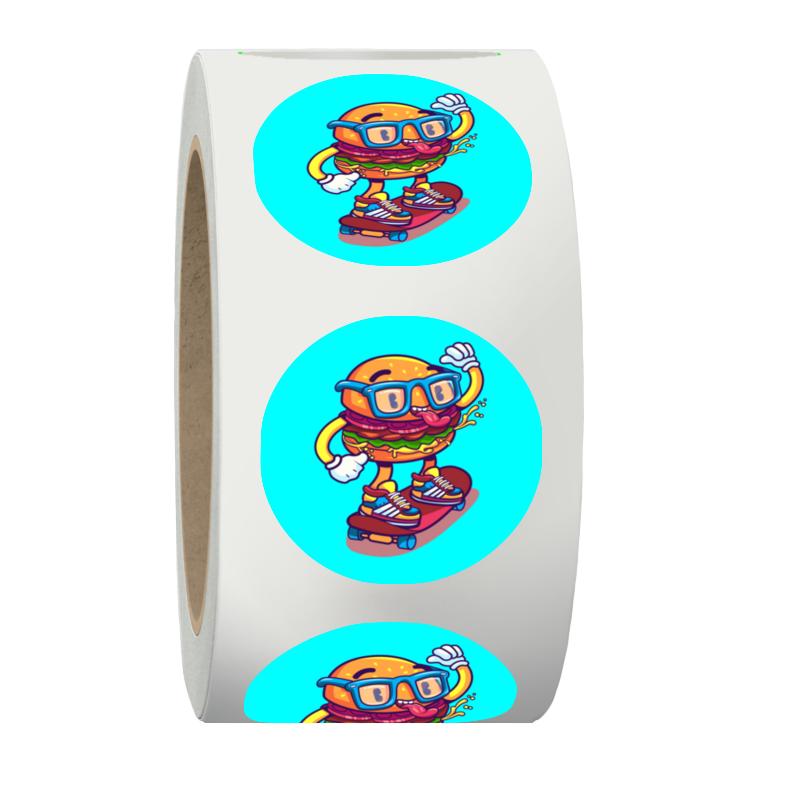 Printio Наклейки в рулоне круглые 50 мм Бургер на скейте