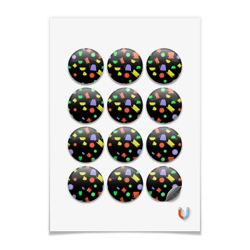 Printio Магниты круглые 5×5 см Чашки