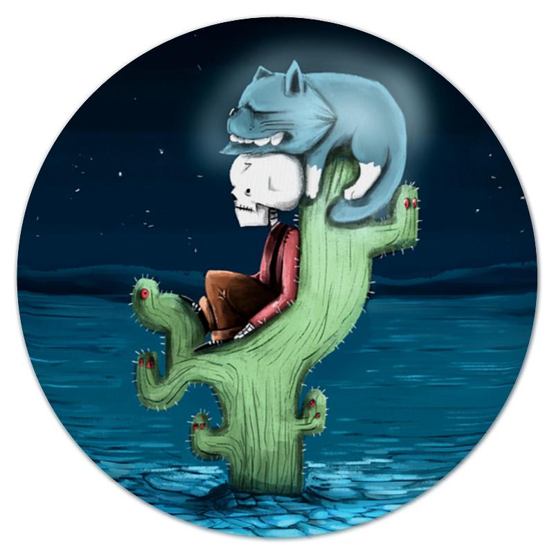 Printio Коврик для мышки (круглый) Скелет и жуткий кот