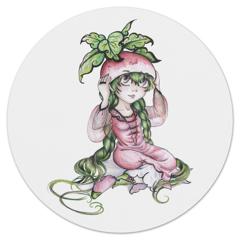 Printio Коврик для мышки (круглый) Девочка-редиска