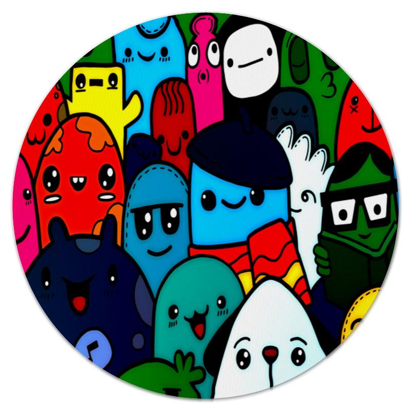 Printio Коврик для мышки (круглый) Цветные смайлы printio коврик для мышки смайлы