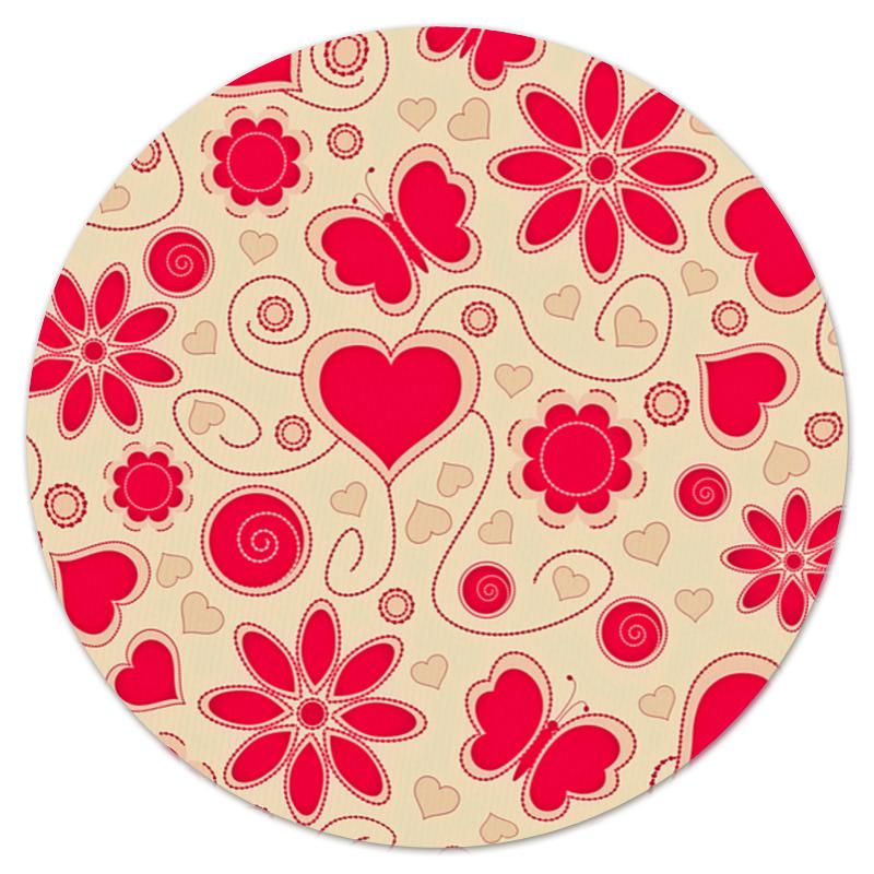 printio коврик для мышки круглый макро цветы Printio Коврик для мышки (круглый) Бабочки и цветы