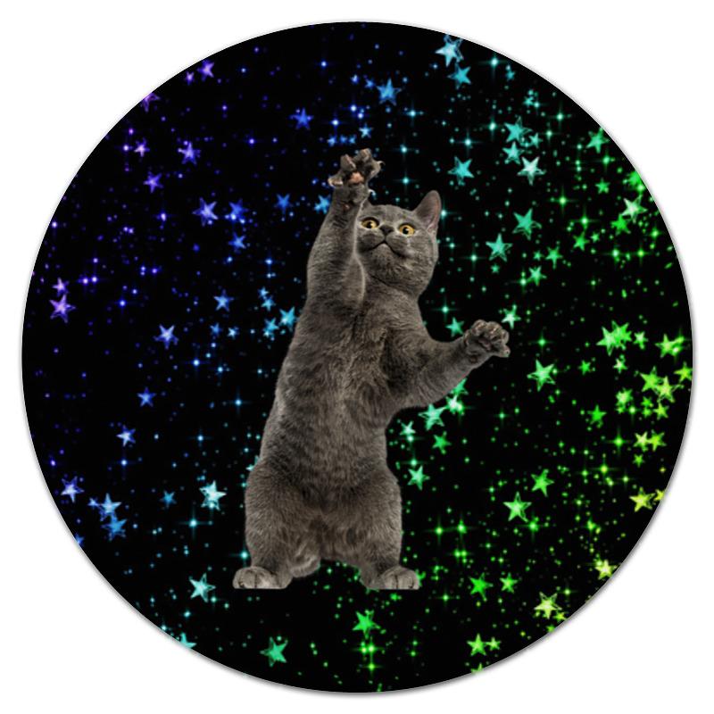 Printio Коврик для мышки (круглый) кот и звезды