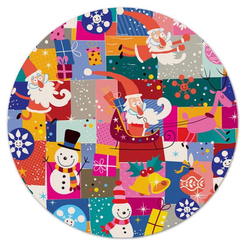 Printio Коврик для мышки (круглый) Санта и подарки