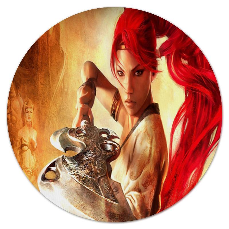 Printio Коврик для мышки (круглый) Девушка-воин